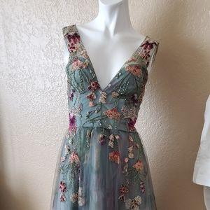 PatBo embellished floral print tulle dress